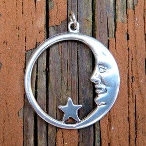 Vintage 925 Crescent Moon & Star Necklace Pendant